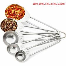 5PCS Cuillère de mesure en acier inox cuillère à café cuillère à soupe ustensile