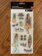 EAT DRINK AND RELAX Clear Stamps set 11 piece by Rongrong.TAN LINES SUMMER VIBES