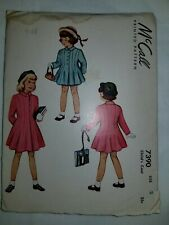 Dress Coat Sewing Pattern Childs size 2 McCalls 7390 Cut Complete Vtg 1948 40's