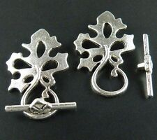 40sets Nice Leaves Tibetan Silver Toggle Clasps 31x20x2mm 1523