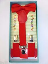 New Baby Toddler Kids Child Red Suspenders Bow Tie Gift Box Set USA SELLER
