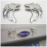 Silver 3D Metal Wolf Head Emblem Stickers Badge Left &Right for Land Rover Sport