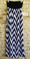 Coveted Clothing SZ M Purple Black Sleeveless Dress Chevron Maxi Pockets Stretch