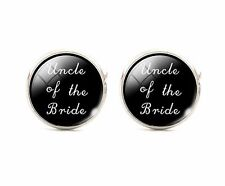 Uncle Of The Bride Silver Plated Wedding Cufflinks Cuff links Round Black 925