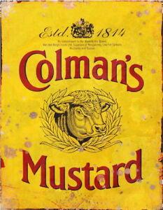 Colmans Mustard Advertising Kitchen Workshop Vintage Garage Shed Metal Tin SIGN