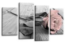 Pink Rose Wall Art Picture Grey White Flower Love Split Panel Print Frame