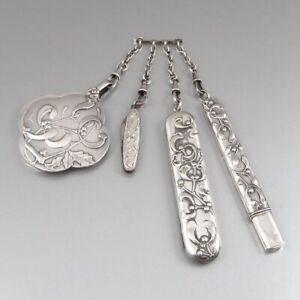 Antique French German Art Nouveau Silver Châtelaine Set Pencil Holder Knife Comb