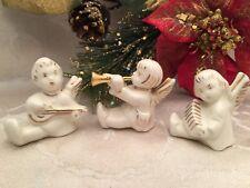 Vintage Ceramic Angels Figure Figurine Musical Instruments Set Of 3 Holland Mold