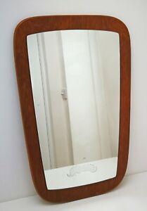 Vtg Mid Century Modern Teak Wood Free Form Mirror Danish Scandi G Plan Style