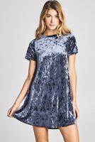 Women's Basic Velvet Tunic T-Shirt Dress Flare Shift Short Sleeve Blue Pink