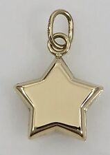 Solid 14K Yellow Gold Star 2 Sided Puffy 3D Pendant/Charm, New