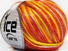 Ice ROCKABILLY Yarn #66213 ORANGE YELLOW LIGHT BEIGE Tencel Blend 50 Grams