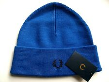 Genuine FRED PERRY Mid Blue 100% Wool Cuff Logo BEANIE HAT Toque UNISEX New Tags