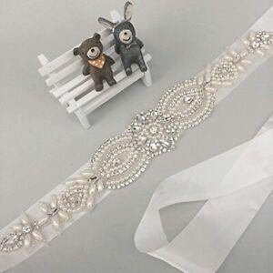 TRLYC Vintage Bridal Sash Pearl Crystal Wedding Belt White/Ivory Ribbon Bride
