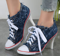 Womens Denim Pointed Toe Lace Up High Heel Ankle Boots Pumps Shoes Party  New