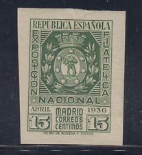 ESPAÑA (1936) NUEVO CON FIJASELLOS MLH - EDIFIL 728 (15 cts)