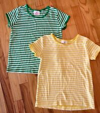 Hanna Andersson Soft Striped Tees Yellow Green Girls 130 8