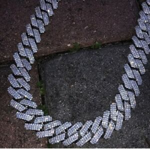 Mens Silver Prong Cuban Belcher Chain Choker Fully Iced Out Trapstar CZ Hiphop