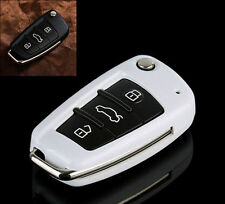 White Flip Key Cover Holder For Audi TT A3 A4 A6 Q7 R8 RS4 S6 Remote Key Shell