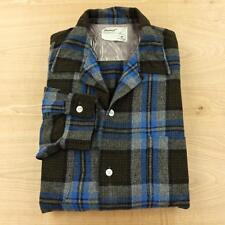 vtg 50's 60's TRUVAL wool blend loop collar flannel shirt MEDIUM rockabilly