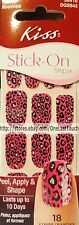 KISS 18 Stick-On Nail Art Strips SUGAR RUSH Pink+Black Leopard #58416 1/3