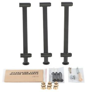 """14.8"""" Length 3 Black Stacking Steel Bench Brackets with Included Screws"""