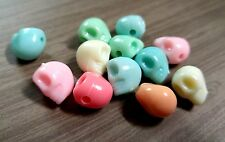 Skull Beads Assorted Colors Acrylic BULK Beads Wholesale 13mm Large Beads 50pc