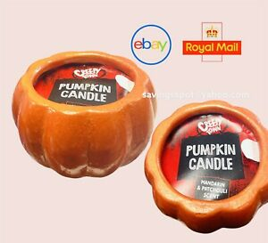 Halloween Ceramic Pumpkin Candle Manadrin & Patchouli Scent Home Autumn Decor