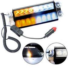 HQRP 8 LED Luz estroboscópica blanca / amarilla lámpara de emergencia de coche