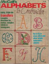 McCalls ALPHABETS to EMBROIDER Easy Iron on Transfers Vintage 1976 Book