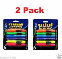 6 Colors Different Color Mini Cute Highlighter Highlight Fluorescent Pen 2 Pack