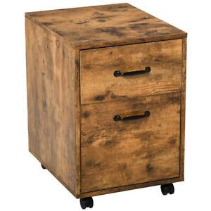 Industrial Filing Cabinet Vintage Office Storage Unit 2 Drawers 4 Wheels Rustic