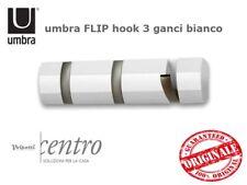 UMBRA FLIP 3 GANCI APPENDIABITI PARETE LEGNO BIANCO CON 3 GANCI IN METALLO