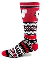 Wisconsin Badgers NCAA Sweater Design Crew Socks Red Black