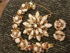 Vintage Juliana Chalk White And Gold Fluss Parue With Rare Find Bracelet!