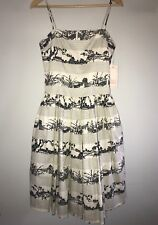 NEW Tracy & Michael Dress Sz 4 Black Ivory Asian Inspired Fit & Flare Tulle