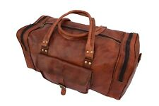 "19"" Genuine Leather Duffle Holdall Bag Overnight Travel Aircabin Hand Luggage"