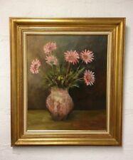 Tableau / Huile sur toile signée SACHY , tableau bouquet de fleurs Gerberas 1979