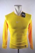 Nike Pro Combat Dri-Fit Shirt langarm Compression Gr. M Gelb Fitness Laufshirt