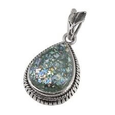 Sterling Silver Pendant w/ 2,000 Year Old Antique Roman Glass (BTS-NP5348/RG)