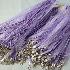 Wholesale Free Ship 100pcs light purple ribbon voile necklace cord 460mm
