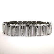14k Brushed White Gold Men's Diamond Bracelet 3.40 TCW Gold Mens Bracelet 87.2g
