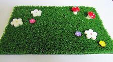 Fairy Garden Grass. Wooden, Handpainted Flowers & Red Toadstools - Fairy Door