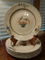 "Six Vintage 1929 Edwin M Knowles Peacocks Pattern China 9 3/4"" Dinner Plates"