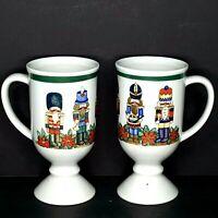 2 Otagiri Footed Coffee Mugs Nutcracker Christmas 6 inch Vintage Gift Idea EUC