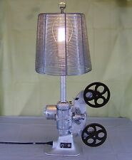 Silver and Metal Sculpted Movie Projector Table Lamp