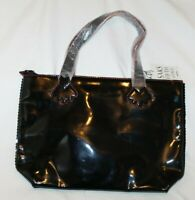 Stephanie Johnson for Saks Fifth Avenue Black Patent Leather Purse Tote Bag NEW