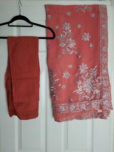 Peach Pink Saree Sari Silver Sequins Chiffon with petticoat