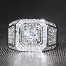 Engagement Ring Men's Wedding Pinky Band 14k White Gold Over Round VVS1 Diamond
