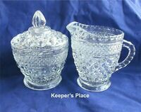 Vintage Cream And Sugar Bowl With Cover Cut Glass Crystal Mint Condition